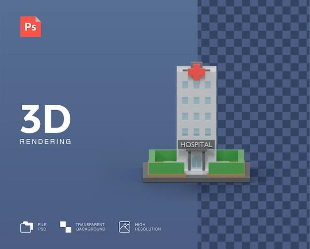 Rendering 3d dell'illustrazione dell'ospedale degli edifici