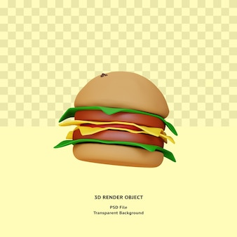 Oggetto illustraton hamburger 3d reso psd premium