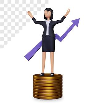 Crescita del business 3d con carattere di donna d'affari e monete d'oro