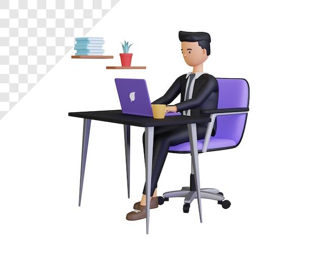 Personaggio 3d uomo d'affari al lavoro