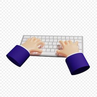 Le mani degli uomini d'affari 3d che digitano sulla tastiera wireless hanno isolato l'illustrazione 3d