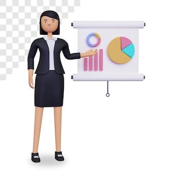 Personaggio 3d donna d'affari che fa una presentazione grafica