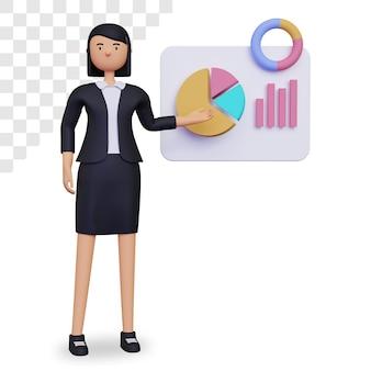 Personaggio 3d donna d'affari con grafico