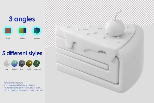 Icona di fetta di torta 3d