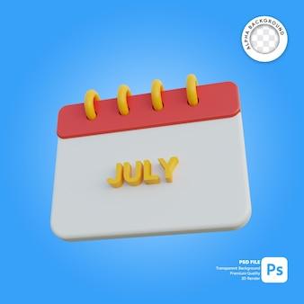 Mese di calendario 3d luglio