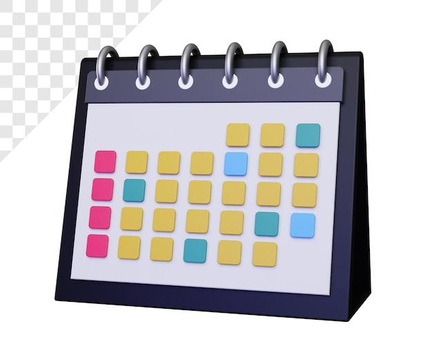 Calendario 3d per l'organizzazione