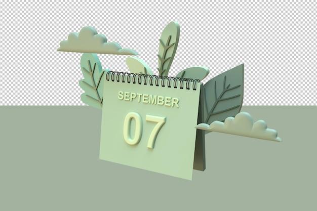 Calendario 3d il 7 settembre con ornamenti di foglie e nuvole con concetto autunnale