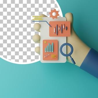 Illustrazione di applicazioni mobili degli strumenti del mercato azionario del candeliere 3d