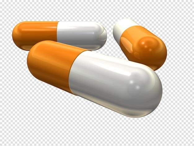 Pillole della capsula 3d isolate