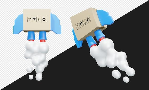 Consegna di cartone o scatola 3d con illustrazione di razzo isolata