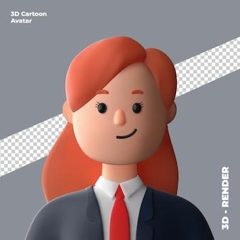 Avatar di cartone animato 3d isolato nel rendering 3d