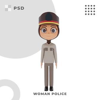 Personaggio dei cartoni animati 3d della donna della polizia con posa
