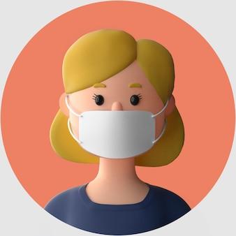 Personaggio dei cartoni animati 3d che indossa il mockup della maschera facciale