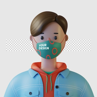 Personaggio dei cartoni animati 3d che indossa un modello di maschera facciale