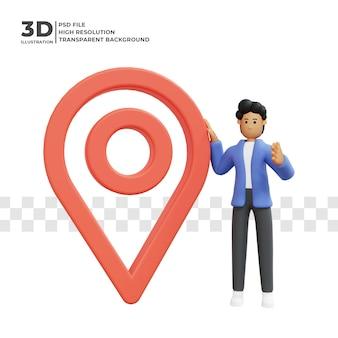 Personaggio dei cartoni animati 3d con icona di posizione psd premium