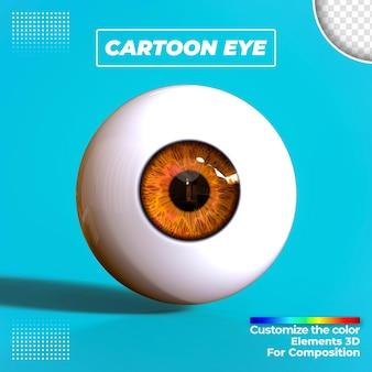 Rendering 3d dell'occhio del fumetto isolato Psd Premium