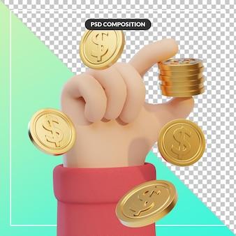 Gesto della mano del fumetto 3d con la moneta del dollaro