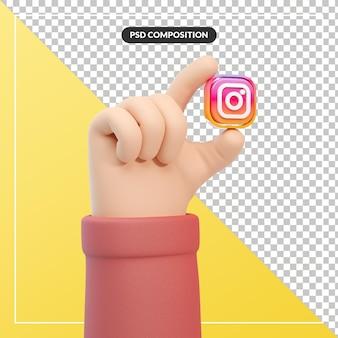 Gesto della mano del fumetto 3d con l'icona del logo di instagram