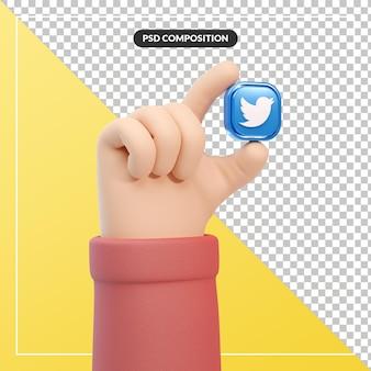 Gesto della mano del fumetto 3d con l'icona del logo di twitter