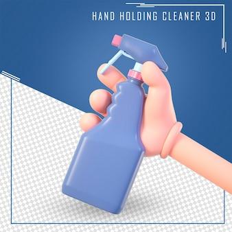 Mano del fumetto 3d che tiene la bottiglia più pulita