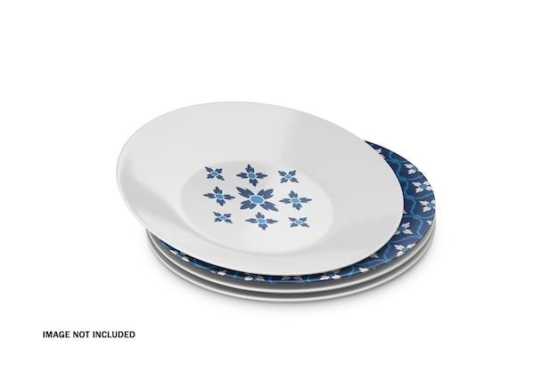 Mockup psd di piatti in ceramica 3d
