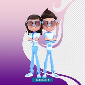 Stile di abbraccio di coppia di personaggi 3d