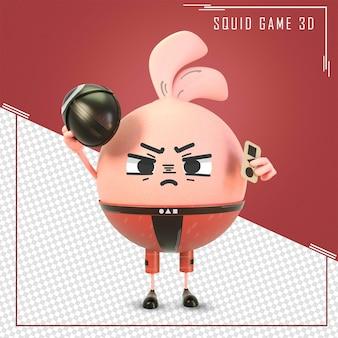 Personaggio 3d del film di gioco di calamari con invito a carte