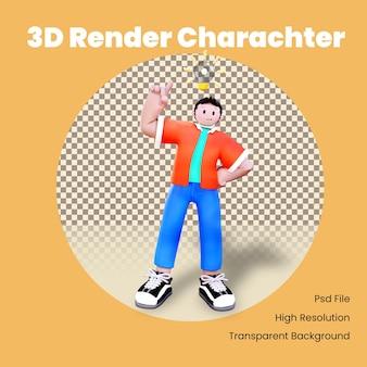 Il personaggio 3d ha avuto un'idea