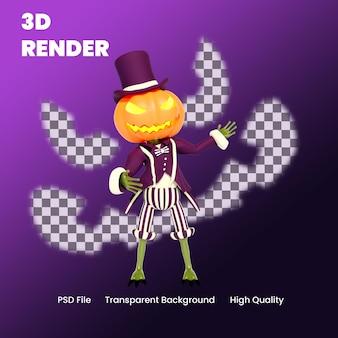 Illustrazione di posa di presentazione della zucca di halloween del personaggio 3d