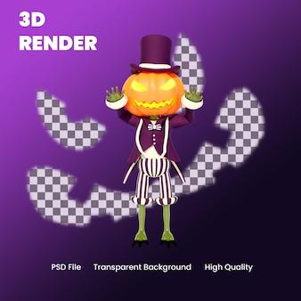 Illustrazione di posa spaventosa della zucca di halloween del personaggio 3d