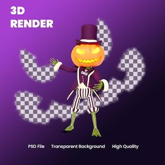 Zucca di halloween del personaggio 3d che mostra qualcosa posa illustrazione