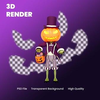 Illustrazione di posa di dolcetto o scherzetto della zucca di halloween del personaggio 3d