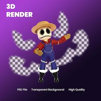 Spaventapasseri di halloween del personaggio 3d che presenta l'illustrazione di posa