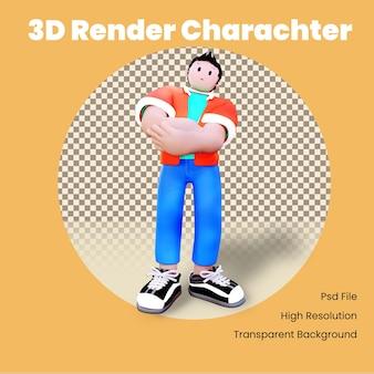 Personaggio 3d con le mani sul petto Psd Premium