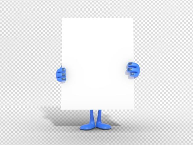 Illustrazione del carattere 3d che tiene scheda in bianco per la pubblicità