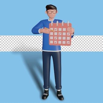 Illustrazione del personaggio 3d concetto di gestione del tempo