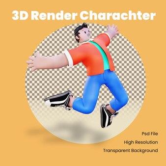 Il personaggio 3d salta nella felicità