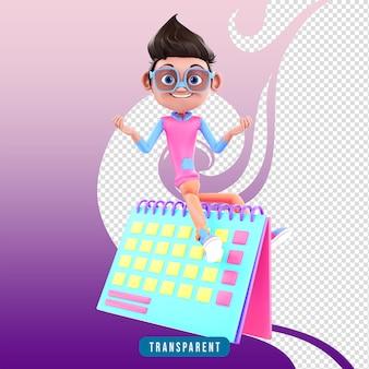 Personaggio 3d maschile con calendario