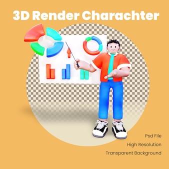 Personaggio 3d che presenta un grafico