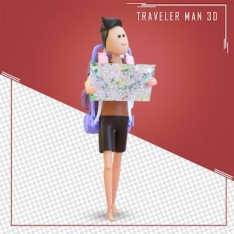Il turista del personaggio 3d si leva in piedi con una grande borsa e una mappa
