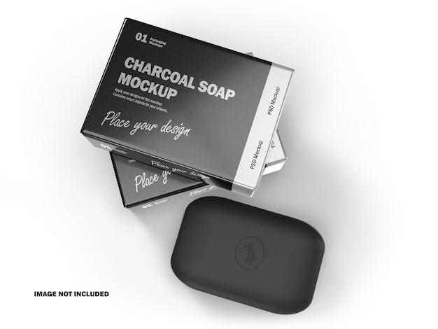 Barre di sapone al carbone 3d con pacchetto lucido mockup