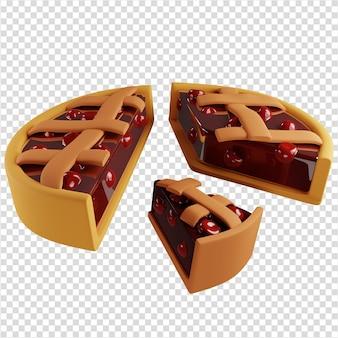 3d torta di ciliegie tagliata in diverse azioni concetto di pagamento del dividendo 3d rendering