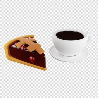 Fetta di torta di ciliegie 3d con una tazza di caffè caffè all'ora del caffè con rendering 3d di dessert