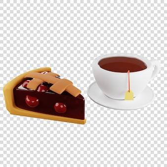 Torta di ciliegie 3d con una tazza di tè con rendering 3d di dessert