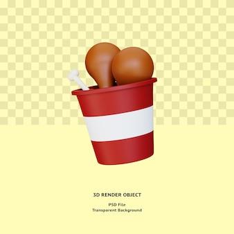 Oggetto dell'illustrazione della carne della coscia di pollo 3d reso