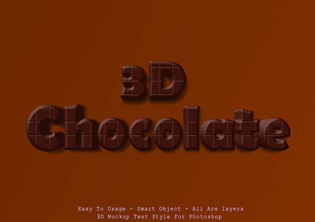 Effetto di stile testo cioccolato 3d