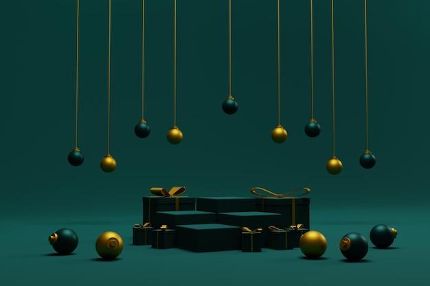 Sfondo di natale 3d con palco del podio per la presentazione del prodotto