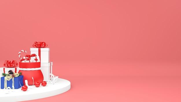 Sacchetto di natale 3d con mucchio di regali isolato