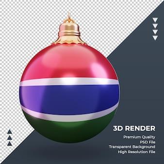 Vista frontale della rappresentazione della bandiera della gambia della palla di natale 3d