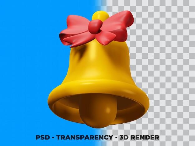 Illustrazione 3d di campana e nastro di natale con sfondo trasparente